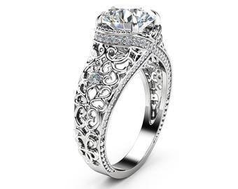 White Gold Filigree  Engagement Ring 14K White Gold Ring Unique Diamonds Engagement Ring