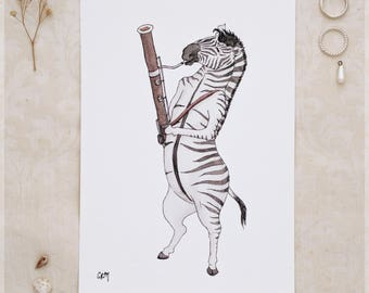 The Zebra & Her Bassoon ~ A5 Art Print from Original Ink and Watercolour Painting