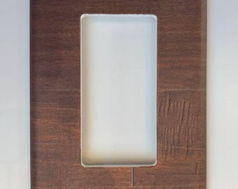 Dark wood light Switch Plate Cover // brown image // SAME DAY SHIPPING**
