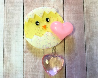 Kawaii Hatched Chick Dangle Hair Clip (pink heart)