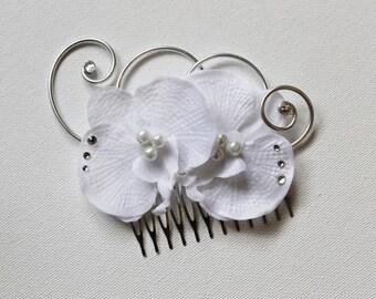 Wedding - bridal fascinator - white orchids, crystal - glass beads - swarovski jewel hair comb