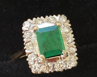 Vintage Rectangular Cut Emerald with Diamond Surround, Engagement Ring 18ct Gold