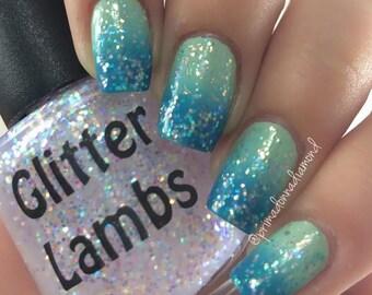 Rainbow Glitter Nail Polish-Rainbow Iridescent Glitter Nail Polish-Glitter Lambs Nail Polish-Rainbow Nail Polish-Rainbow Glitter Nail Polish
