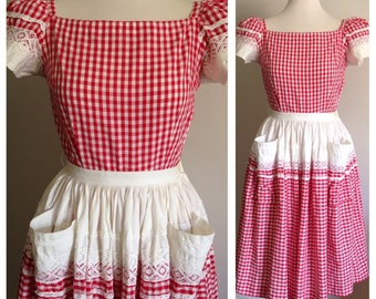 Vintage 1950s 50s 50's 2 piece red white gingham western square dance dress short sleeve top circle skirt pockets S small 34 bust 24 waist
