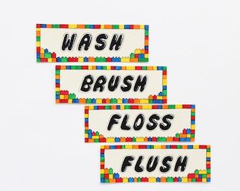 Boys Bath signs; Kids Bathroom wall signs; Boys bathroom art; Wash Brush Floss Flush Signs; Bathroom wall decor; Kids wall art bathroom
