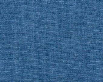 "Medium Colour - Lightweight Washed 4oz Denim 100% Cotton Fabric Material 145cm (57.5"") Wide"