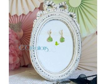 Rhinestone zirconium earrings, gold and anise green