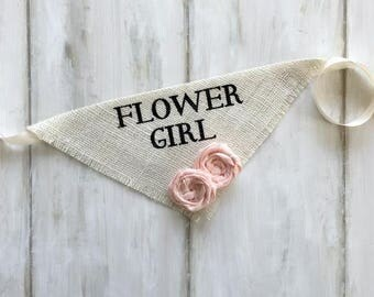 Small READY TO SHIP Ivory Flower Girl Bandana with Fabric Flowers Wedding Collar Girl Engagement Save the Date Photo Prop