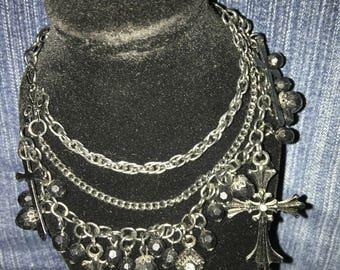 Triple strand metal cross pendants necklace