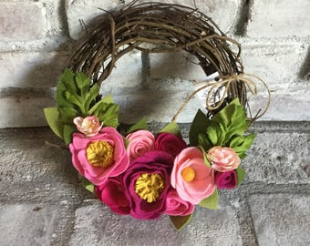 Pink 10 inch Felt Floral Grapevine Wreath