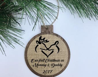 Our First Christmas as Mommy & Daddy / Deer / Rustic / Christmas Ornament / Wood Burlap / Christmas Gift