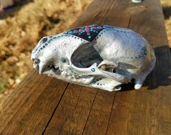 Hand Painted Racoon Skull Textured Silver