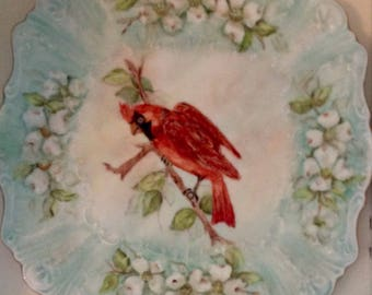 Handpainted Red Cardinal Plate.......handpainted and signed.....1972........excellent condition