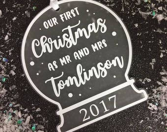 Our First Christmas as Mr and Mrs | Personalised Tree Decoration | Snow Globe Decoration | Our First Christmas |Our First Christmas Ornament