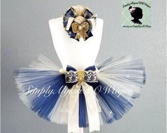 New (6mos-12mos) Navy blue and Ivory Lace tutu set with headband