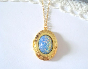 Blue Fire Opal Locket, Glass Opal Locket, Vintage Glass Opal, Harlequin Fire Opal, Layering Necklace, Gift for Her