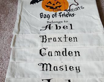 Halloween personalized bags, Kids Trick or Treat Bags, Personalized Trick or Treat Bags,