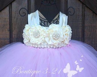 Light Pink Flower Girl Dress, Light Pink Tutu Dress, Light Pink Tulle Dress, Light Pink Dress, Light Pink Wedding, Light Pink, Ivory Dress
