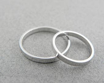Gold wedding bands set-14k solid white gold-2 mm x 1 mm - Shinny finish.