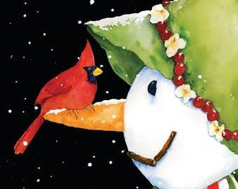 Monogrammed  Cardinal Snowman, Winter, Frosty, Garden Flag