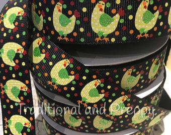 "7/8"" Hen Chicken glitter polka dot grosgrain ribbon"