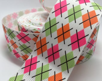 "3 yards 1.5"" Argyle preppy grosgrain ribbon"