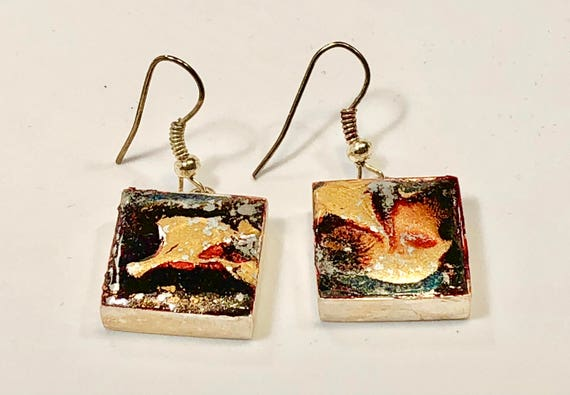 Handmade square red blue gold enamel silver plated earrings with abstract designs