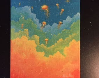 Rainbow Jellies Original Canvas Painting
