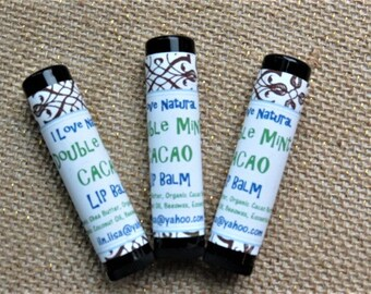 ORGANIC Double Mint Cacao LIP BALM- I Love Natural/Spearmint Pepppermint Lip Balm/ Org Shea Butter/Org Cocoa Butter/Org Coconut Oil/Beeswax