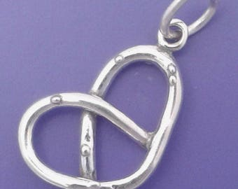 Twisted PRETZEL Charm .925 Sterling Silver Pendant - t01372