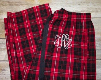 Monogrammed Black & Red Pajama Pants, Red and Black Plaid Pajama Pants, Flannel Pajama Pants