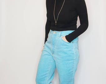 BOYFRIEND FIT JEANS - 1980s Turquoise jeans - Mum Jeans - Mom Fit Jeans - Vintage jeans - High Waist Trousers - High Waist Jeans - Blue