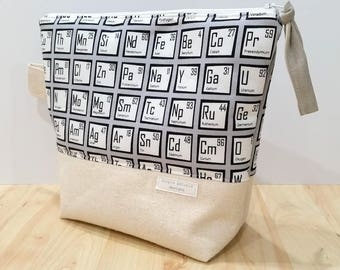 Periodic Table Canvas Toiletry Bag, Travel Bag, Make Up Pouch, Zipper Bag