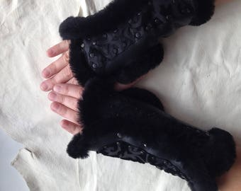 Sheepskin Fur Mittens for women