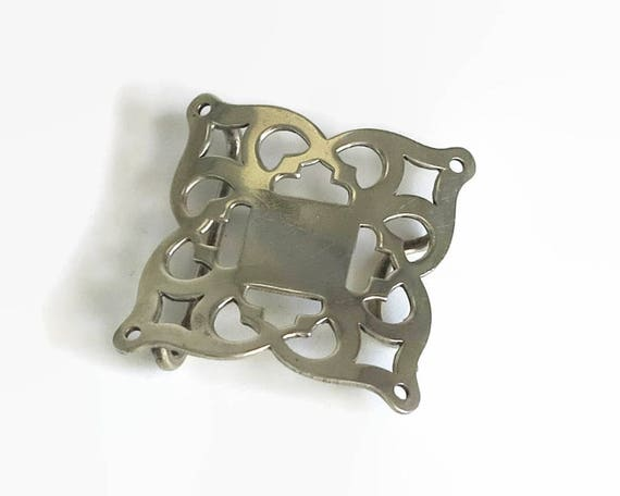 Edwardian silver plated nurse's buckle, open metal work, square, antique, circa 1900s