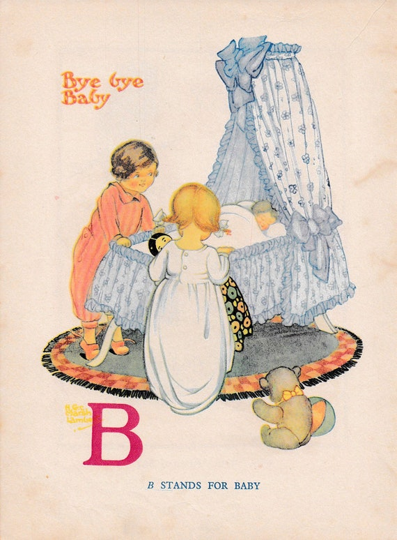 """Children's book illustration by H.G.C. Marsh Lambert, """"Bye Bye Baby, B stands for Baby"""", published 1950s, book print"""