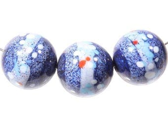 Lot (3) 17mm Czech lampwork art glass beads abstract spatter marbled blue faux gemstone 153-43