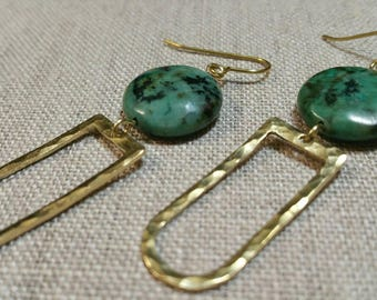 African Turquoise Hammered Brass D Ring Earrings / Boho Chic / Minimalist / Geometric - EHD01