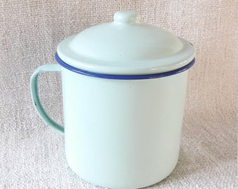 "6"" Vintage Greenish Blue Enamel Canister Pot with Lid"