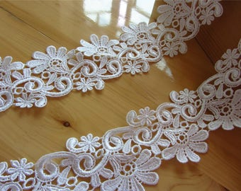 6cm White lace trim for DIY sewing,white circle lace trimming,flower hollow up trim