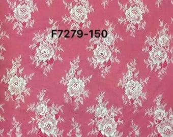 "Chantilly Lace ,eyelash Lace Fabric,flower pattern lace  ,off  White Chantilly Lace fabric  for wedding 59"" width-7279"