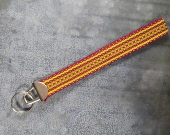 Handwoven wristlet key fob/keychain - Maroon, yellow, orange, green
