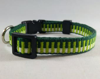 Cat Collar - Handwoven; Adjustable; Breakaway safety buckle; Lucky Green; Optional tag