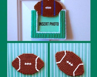 Plastic Canvas: Football Fever -- Football Photo Frame and Magnets (set of 3 items -- photo frame ornament and 2 magnets )