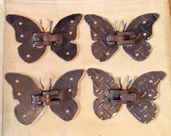 One Pair Handcrafted Steel Butterfly Hinges diamond plate rust butterflies