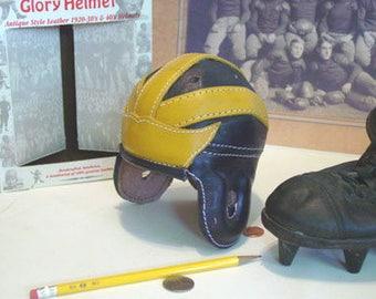 1940 Mini Michigan Leather Football Helmet (1/3 scale)