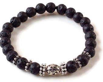 Lava Bead Silver Beads Men Bracelet, Beaded Bracelet, Lava Rock Bracelet, Essential oil bracelet, Diffuser Bracelet, Lava Stone, Thai bead