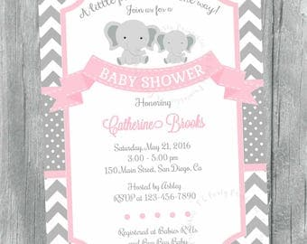 Elephant Baby Shower Invitation. Elephant Baby Girl Invitation. Little Peanut Baby Shower Invitation,  Pink and Grey.  Digital File.