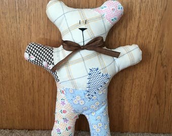 Quilted teddy bear ~ Handmade bear ~ Stuffed bear