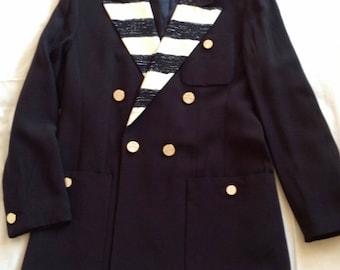 Louis Feraud Vintage Navy with Cream Blazer Size 10